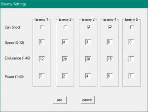 enemy settings panel
